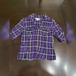 Plaid Purple Button-Up